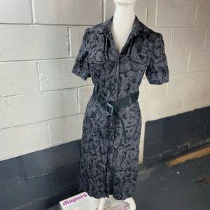 Jacqui E Womens Shirt Dress Sz 12 Gray Black